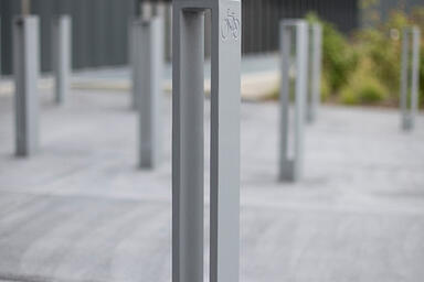 Capitol Bike Racks shown with Silver Texture powdercoat