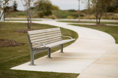 Knight Bench shown in 8 foot, backed configuration with Silver Texture