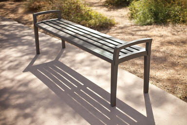 Cordia Bench shown in 6 foot, backless configuration with aluminum slats