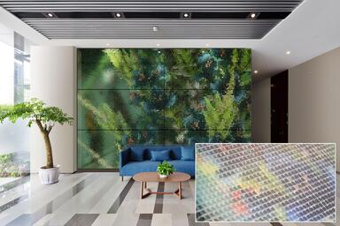 Feature wall in ViviSpectra VEKTR glass with custom interlayer