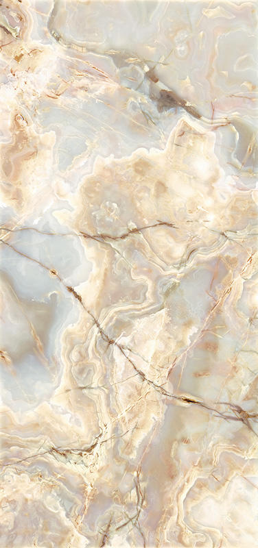 "ViviStone Opal Onyx glass, slab A-1, in Reflect configuration; Size: 48"" X 96"""