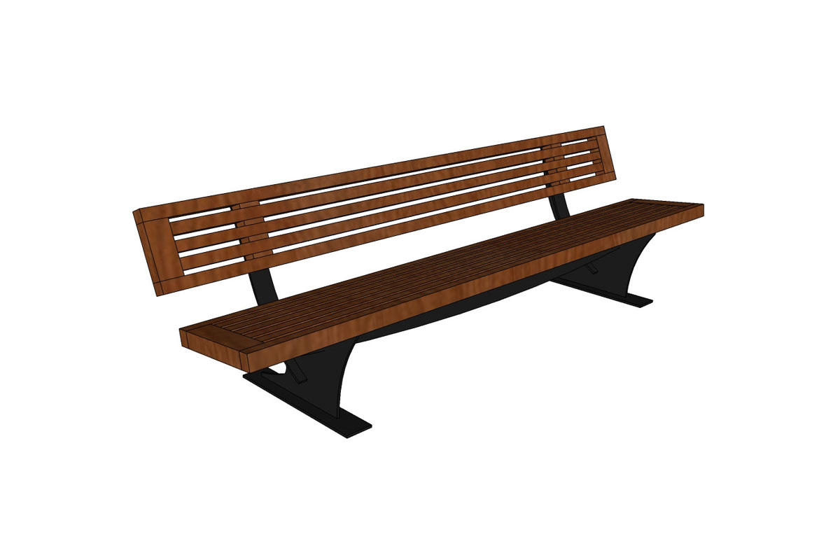 Pacifica Bench, 8 foot, full back, freestanding