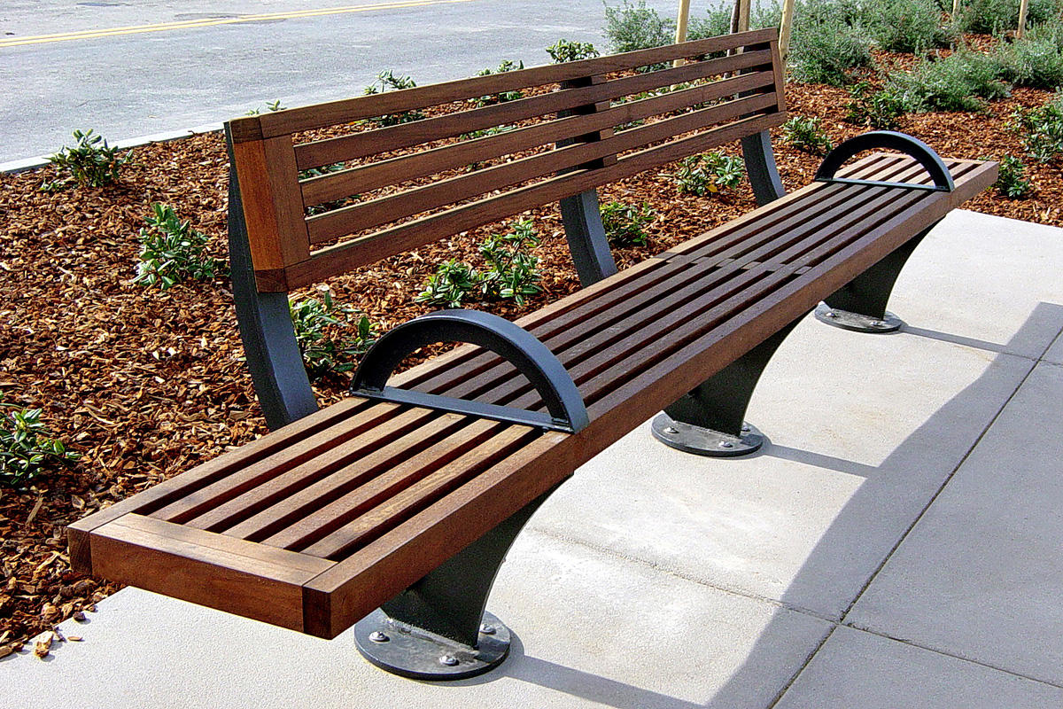 Pacifica Bench, 12 foot, short back, surface mount, FSC 100% Jatoba, armrests