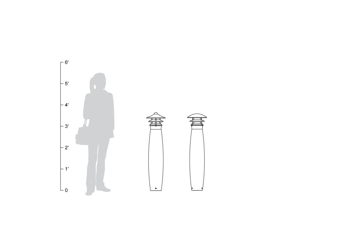 Taiyo Bollard Scale, shown to size.