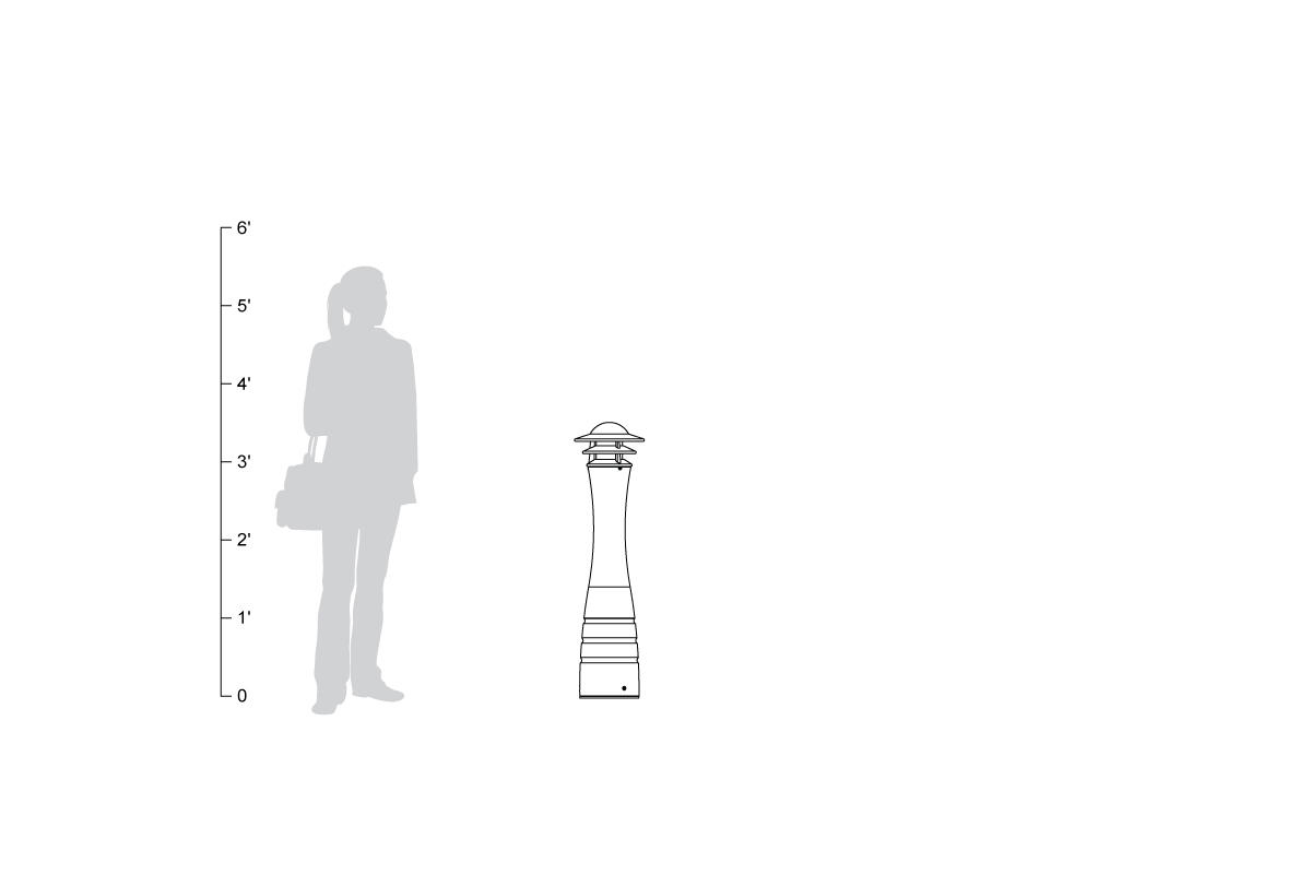 Lighthouse Bollard, shown to scale.