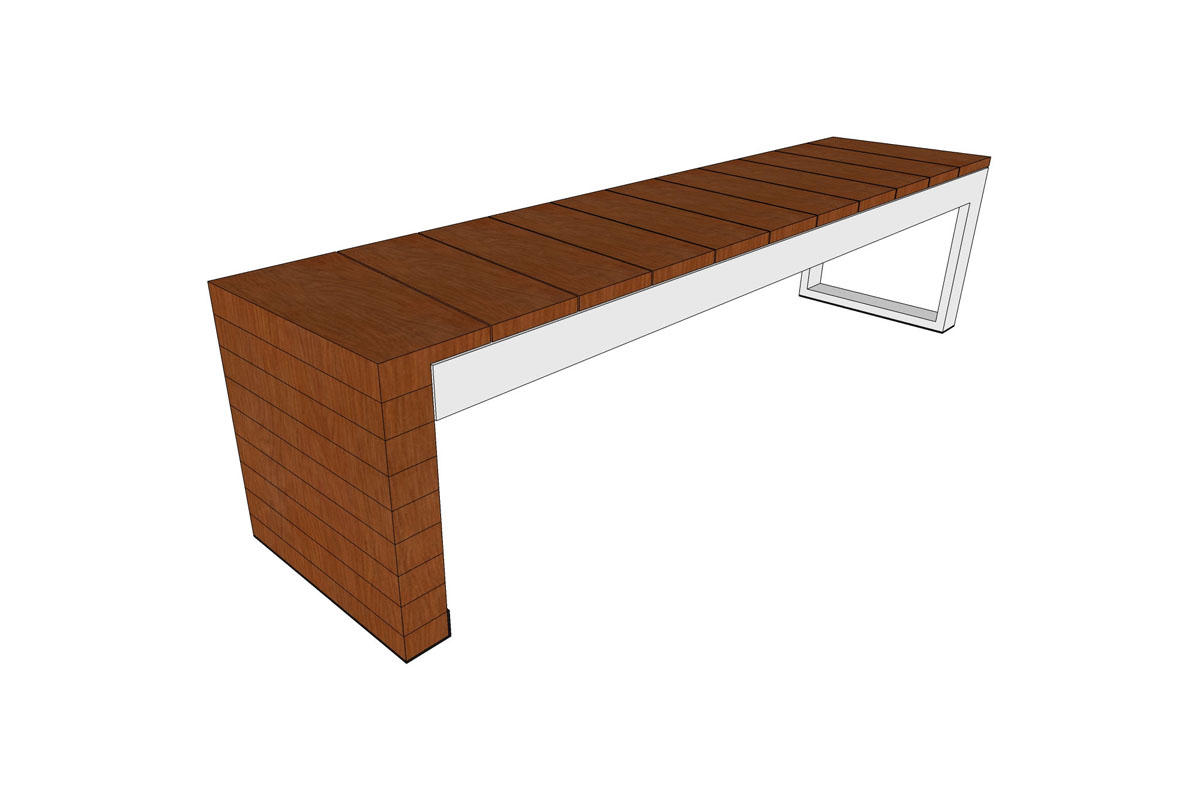 Duo Bench, powdercoated Stainless Steel frame, FSC 100% Jatoba