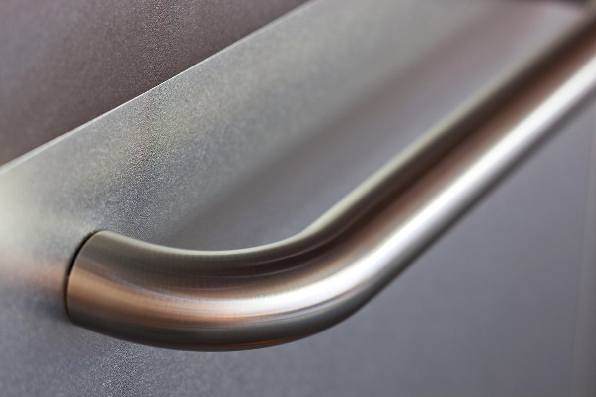 Round Handrail With Radius Bend End In Satin Stainless