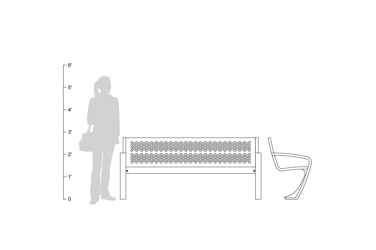 Balance Bench, backed, 6 foot, shown to scale