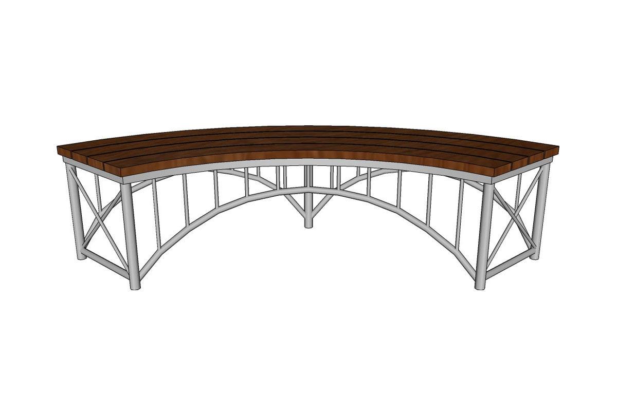 Bridge Bench, straight, FSC 100% Ipé hardwood slat seat