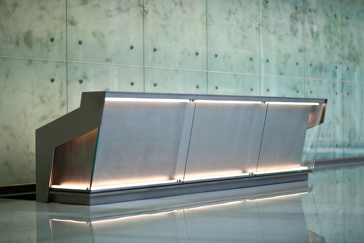 Reception Desk In Stainless Steel With Mist Finish At 1999