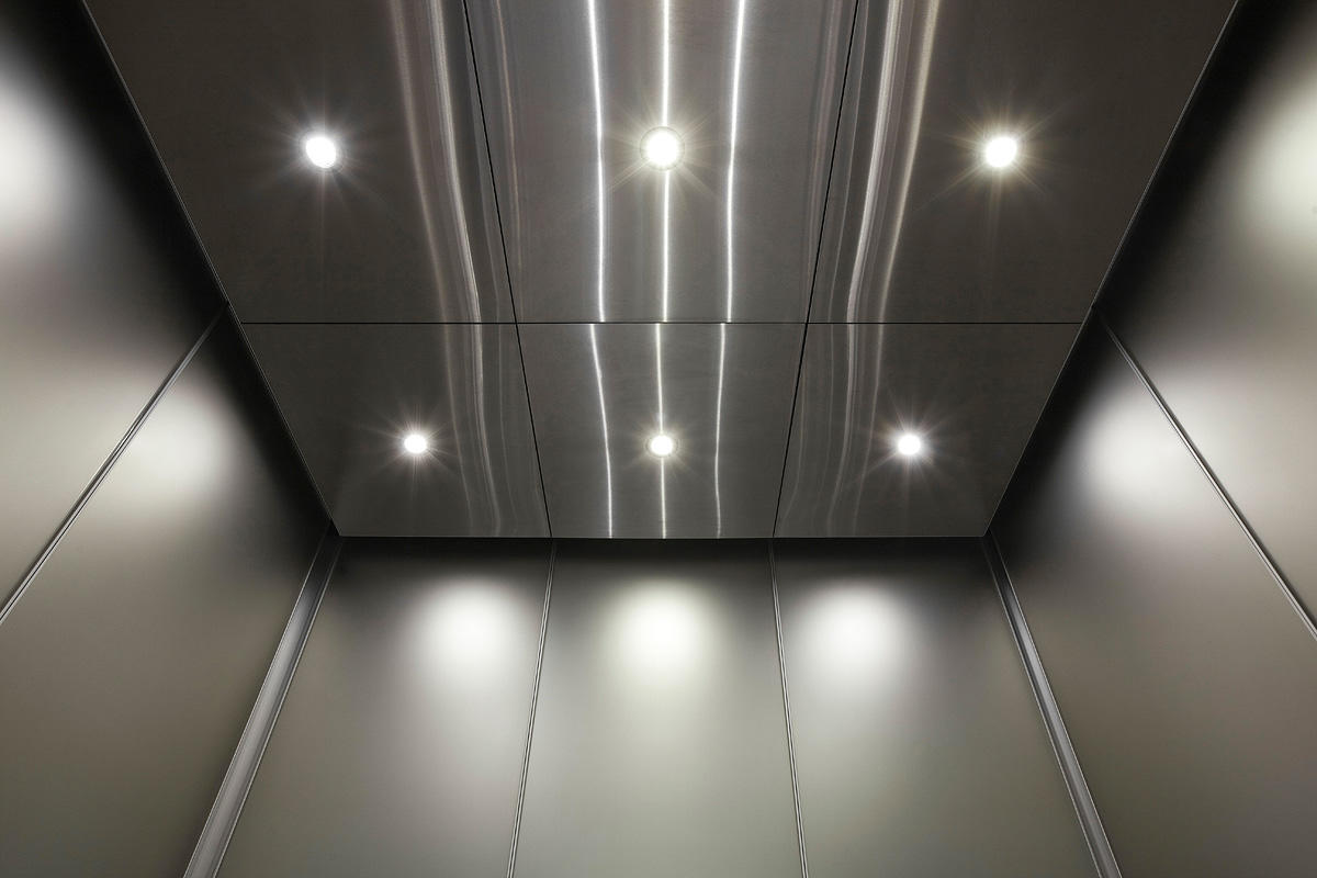 Elevator Ceiling In Stainless Steel With Satin Finish At