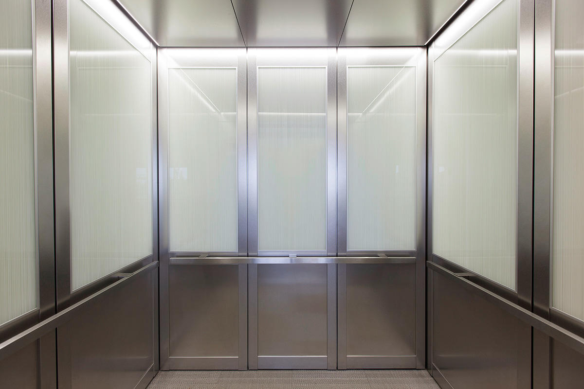 Cabforms 2000 N Elevator Interiors With Upper Panels In Vivigraphix Graphica Glass Seagrass