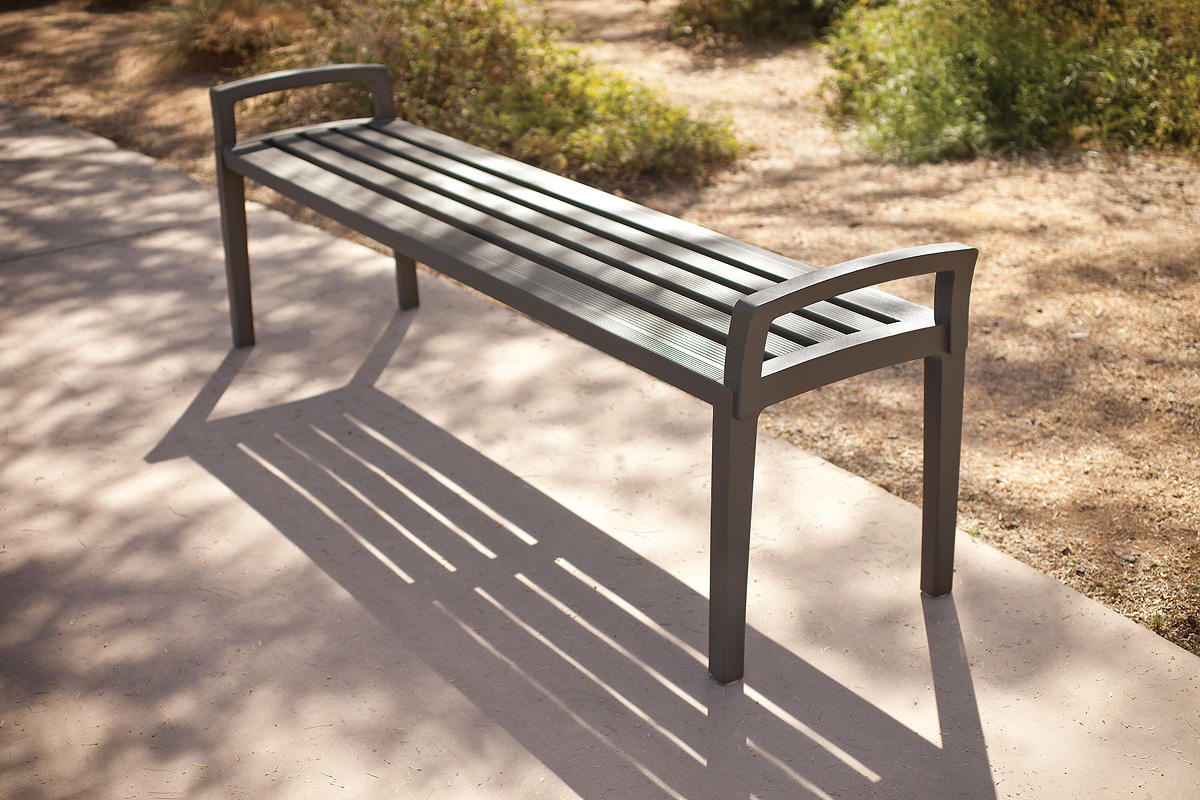 Cordia Bench Shown In 6 Foot Backless Configuration With Aluminum Slats