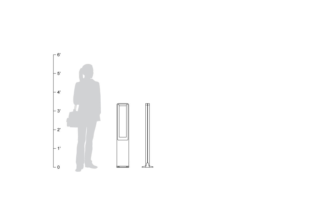 Tangent Bollard, shown to scale