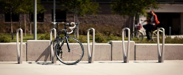 Trio Bike Racks shown with Aluminum Texture powdercoat