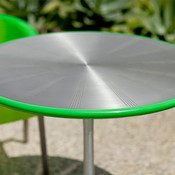 Citrus Table shown with Satin Stainless Steel, perforated table top