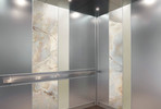 LEVELe-101 Elevator Interior with main panels in Stainless Steel, Seastone
