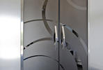Fused Metal Doors in Fused Nickel Silver with Mirror finish and ECO205D pattern