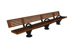 Pacifica Bench, 12 foot, full back, surface mount, three armrests