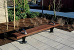 Pacifica Bench, 8 foot, backless, surface mount, FSC 100% Jatoba slats, armrests