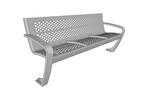 Balance Bench, backed seat with stainless steel finish and two seat dividers
