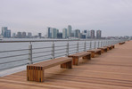 Hudson Benches shown in 8 foot, surface mount, FSC 100% Ipé slats