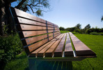 Knight Bench, 6 foot, backed, powdercoated frame, FSC 100% Ipé slats
