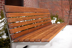 Knight Bench, 6 foot, backed, powdercoated frame, FSC Recycled Teak slats