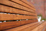 Knight Bench, backed, FSC Recycled reclaimed Teak slats