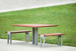 Apex Table Ensemble, two benches, Aluminum Texture, FSC 100% Jatoba